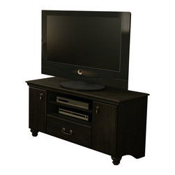 South Shore - South Shore Dover Collection TV Stand in Ebony - South Shore - TV Stands - 4387662 - This collection will help you discover your comfort zone with the perfect combination of a Ebony finish stylish bun-feet and two types of refined metal handles for a timeless allure. This furniture can also be combined with Noble collection bedroom items; placed at the foot of the bed for addition storage to help keep the bedroom a peaceful retreat.