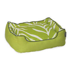 ez living home - Zebra Couch Bed Cream on Lime - Having a pet doesn't mean you have to throw your sense of style out the window. This sassy lime-colored zebra print pet bed has flair to match your favorite throw pillows, and will keep your furry friend from shedding on the couch. She'll look and feel like a princess on her cushioned, bolstered throne, and when she mucks it up with hair and dust, just remove the cover and toss it in the wash.
