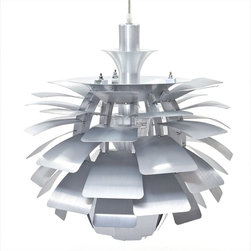 IMPORT LIGHTING & FUNITURE - Poul Henningsen Style Artichoke Pendant Light, Small - Poul Henningsen Style White Artichoke Light, originally designed in 1957. This light combines function & form with a glare free visual feast of a design. Uses the correct number of leaves curved at just the angle originally intended. Available in Silver or White this light will look great over a dining table or in the center of a room to create the WOW factor, in both domestic and commercial applications. Elevate the heart and uplift the mind in a liberated release of light. The Artichoke-style Modern Silver 19 or 28-inch Chandelier Lamp is a study in perception stemming from the inner recesses of the soul. Reflect limitless possibilities and shower abundance as you diffuse light pleasantly with a striking classic for all times and settings. For home or commercial use .Brushed aluminum petals .Light source hidden at center .