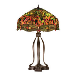 Meyda - 30.5 Inch Height Hanging head Dragonfly Table Lamp Ceiling Fixture - Color theme: 59 Orange Red Green 59r
