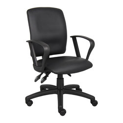 Boss Chairs - Boss Chairs Boss Multi-Function LeatherPlus Task Chair with Loop Arms - Upholstered in black Leather plus. Back angle lock allows the back to lock throughout the angle range for perfect back support. Seat tilt lock allows the seat to lock throughout the tilt range. Pneumatic gas lift seat height adjustment. Nylon base. Hooded double wheel casters. Loop arms.
