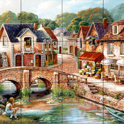 The Tile Mural Store (USA) - Tile Mural - A Quiet Afternoon - Kitchen Backsplash Ideas - This beautiful artwork by John O'Brien has been digitally reproduced for tiles and depicts a colorful street scene.  This street scene tile mural would be perfect as part of your kitchen backsplash tile project or your tub and shower surround bathroom tile project. Street scenes images on tiles add a unique element to your tiling project and are a great kitchen backsplash idea. Use a street scene tile mural, perhaps a Tuscan theme tile mural, for a wall tile project in any room in your home where you want to add interesting wall tile.