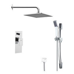 Remer - Contemporary Square Shower Faucet with Hand Shower - Single function shower faucet.