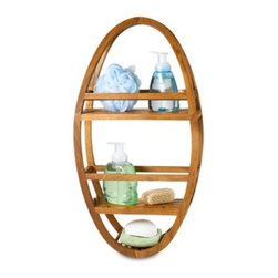 Aqua Art Enterprises, Inc. - Teak Shower Caddy - This water-resistant teakwood shower caddy can hang on a showerhead or a hook. Caddy has two spacious product shelves, a bar soap tray and two razor ports.
