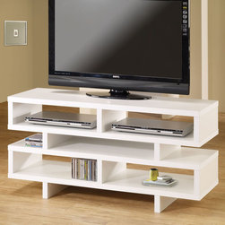 Coaster - 700721 TV Console - This simple and contemporary TV console will fit nicely with most home decor. Featuring plenty of open storage space with separated compartments for convenient organization in a white finish. Add more storage space to your living room or entertainment room with a matching bookcase (#800308).