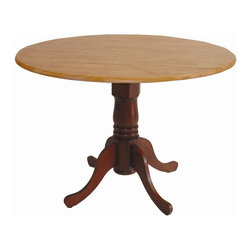 International Concepts - Round Dual Drop Leaf Pedestal Dinette Table - Dual drop leaf. Made of solid wood. Assembly required. 42 in. Dia. x 29.5 in. H (54 lbs.)