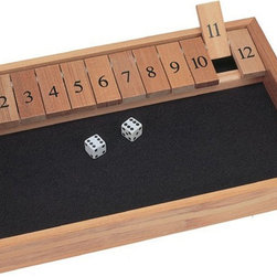 """Wood Expressions - Shut-The-Box - Wooden Case - 49-7112 - Shop for Learning and Education from Hayneedle.com! Dating back to the 18th century Shut-The-Box is a traditional Norman game that fishermen used to enjoy playing after a long day at sea. Simply roll the dice and set down any numerical combination of tiles that match your roll. Keep on rolling until you can no longer match your roll using the remaining tiles; the player with the lowest score wins the game. If you lay down all the tiles you have """"shut the box."""" This improved version of the game boasts 12 numbers rather than the typical nine offering more numerical combinations. It can be played with any number of players. Crafted from durable wood with a natural finish it features a felt playing surface and dice. The box measures 13.5 inches long by 9.13 inches wide. Bring old century charm into your home with Shut-The-Box! About Wood Expressions Inc.For more than 30 years Wood Expressions has been manufacturing importing and distributing games from around the world. Their specialty is chess from traditional hand-carved hand-polished designs to novelty sets like the Elvis Presley. With a variety of different games available there is something for everyone. Wood Expressions is constantly scouring the globe for the best in board games. Dedicated to integrity honesty and professionalism this company offers quality products at excellent value and superior customer support."""