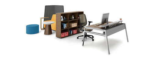 Turnstone - Bivi Suite for One - The Bivi Suite for One consists of 1 Bivi Table (with or without Back Pocket storage), 1 Bivi Bigger Depot for shelving, 3 Bivi Top Shelf units for desktop storage, 1 Campfire Ottoman for guest seating, one Campfire Screen for privacy, 1 Campfire Big Lounge for even more seating, 1 Campfire Paper Table, and 1 Campfire Personal Table.