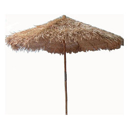 Bamboo54 - 9' Thatched Umbrella - When the sun's beating down, there's no better way to get some shade than heading underneath this 9' Thatched Umbrella. This tropical patio umbrella has definite island style with its thatched top! The pole is made from strong, sturdy bamboo and the thatch top is available in your choice of three sizes. Great for shade on scorching hot days, this patio furniture fits into most standard umbrella stand. A great accent to any outdoor furniture set, this 9' Thatched Umbrella will be sure to make you feel like you're relaxing in an isalnd paradise!