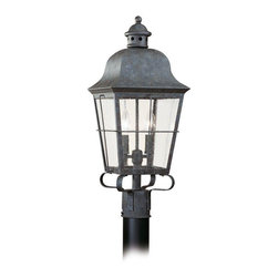 Sea Gull Lighting - Sea Gull Lighting-8262-46-Two-Light Colonial Outdoor Post Lantern - Classic, colonial lantern design with seeded glass panes in oxidized bronze finish over solid brass.