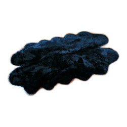 Fur Accents - Fur Accents Sheepskin Pelt Rug / Faux Fur Black Quatro , 5'x6' - Truly Beautiful Faux Sheepskin Accent Rug. Rich Shaggy Black Faux Animal Pelt Area Carpet. Quatro Four Pelt  Design. Made from 100% Animal Free and Eco Friendly Fibers. Perfect for the Winter Lodge, Log Cabin , Family Room, Great Room , Master Bedroom or Any Room in the Houzz! . Spread out in front of the Hearth or hang on the wall over the Mantle. Tastefully lined with real Ultra Suede. Luxury, Quality and Unique Style for the most discriminating designer / decorator.