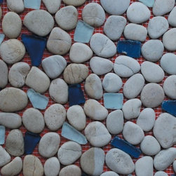 Sea Glass Tile And Pebbles Aqua Marine Mosaic Blend, Box - Sold by the box of 10 sheets