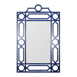 "Mirror Image Home - Mirror Image Home Lacquer Mid Century Mirror Indigo - Influenced by the simple glamour of vintage style, the mid-century modern mirror in indigo aligns geometric shapes to form its chic frame. This artistic Mirror Image Home mirror is finished in navy blue lacquer for a bold look in the living room or bedroom. 34""W x 54""H; Hanging hardware included"