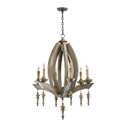 Cyan Design - Manning Chandelier - Evocative of a flower about to bloom, the Manning Chandelier's stained wood design is simply beautiful. We love the delicate millwork of the pendants!