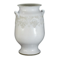 Lazy Susan - Lazy Susan 223048 Milk Vineyard Urn - Large - Made from terra-cotta and finished with a milk white glaze, this urn features a floral motif and two side handles. Equally at home in a kitchen holding large utensils as it is perched in a sunroom with fresh or dried flowers, it's sure to become a favorite decorating accessory.