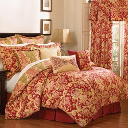 Waverly Archival Urn 4 pc. Comforter Set - Rich colors, luxurious textures, and a Tuscan-inspired design, the Waverly Archival Urn 4 pc. Comforter Set graces your bedroom in style. This bedding set includes a reversible comforter, two pillow shams, and a tailored bedskirt. The comforter and shams feature a paisley damask pattern in red, gold, green, and honey. The bedskirt comes in a coordinating solid red and the comforter reverses to a coordinating damask in a stripe affect. This machine-washable, 100% cotton comforter set comes in your choice of size.Comforter Dimensions:Full / Queen: 96L x 92W in.King: 96L x 110W in.About Ellery HomestylesOffering curtains, bedding, throws, and specialty products, Ellery Homestyles is a leading supplier of branded and private-label home-fashion products. Their products deliver innovation in fashion, function, and design and include names like Eclipse™, Curtainfresh™, SoundAsleep™ , ComfortTech™, Vue™, and Waverly. Their 357,000 square foot facility in Lumber Bridge, North Carolina includes a high-speed pillow-filling operation with a capacity of approximately 40,000 pillows a week.