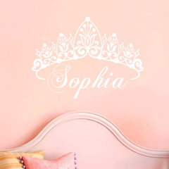 Baby Girl Crown Wall Decal Name Custom Nursery by AllOnTheWall
