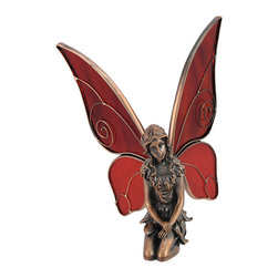 Zeckos - Copper Washed Fairy Statue Red Glass Wings - This beautiful copper washed solid pewter kneeling fairy statue comes with a pair of adjustable red stained glass wings. The pretty fairy measures 6 1/4 inches tall (3 1/2 inches without the wings), and the wings can be outstretched to 9 1/2 inches wide. The detail is impressive, from her pointy ears to her long flowing hair. This gorgeous fairy statue is a perfect gift for fairy lovers young and old.