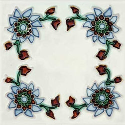 """Glass Tile Oasis - Primavera 6"""" x 6"""" White 6"""" x 6"""" Deco Tiles Glossy Ceramic - All ceramic tiles are hand painted. Glazed thickness will vary from tile to tile, resulting in color variation. Hand-Painted Ceramic tiles will craze and crackle over time, which is intentional and a desired effect."""