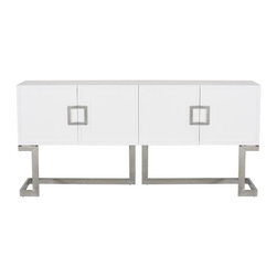 Worlds Away - Worlds Away Braxton Console-White/Silver - White lacquer media console with stainless steel base and square handle
