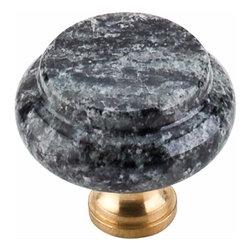 Top Knobs - Top Knobs: Verde Maritaka Granite 1 3/8 Inch With Brass Base - Top Knobs: Verde Maritaka Granite 1 3/8 Inch With Brass Base