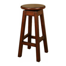 American Heritage - American Heritage Taylor 30 Inch Barstool in Suede - This simple yet elegant stool is the real deal. The fully assembled massive wood frame is designed to last. The circular wood swivel seat is amazingly comfortable. A perfect addition to any room of the house. What's included: Barstool (1).