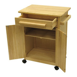 Winsome Wood - Winsome Wood Kitchen Cart with Cabinet with Natural Finish X-72028 - The solid beechwood worktop provides you with a handy food preparation surface on this rolling storage cart.  A top drawer is underpinned by a large two-door cabinet.  Handy towel bar on one side helps too.