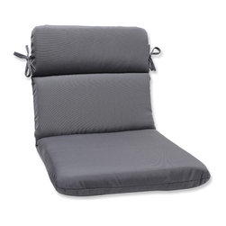 Pillow Perfect - Pillow Perfect Rounded Corners Chair Cushion with Charcoal Sunbrella Fabric - This chair cushion with rounded corners and ties is covered in 100-percent solution dyed acrylic Sunbrella® fabric,which provides the perfect balance of worry-free performance and fashion.