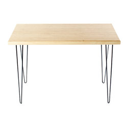 TruCraft Furniture - Laminated Baltic birch console table with hairpin legs - This unique console/hall table is made from multiple layers of top grade Baltic birch plywood laminated together. Black powder coated legs add to the modern look.