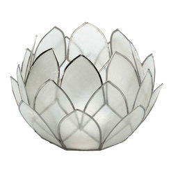 Kouboo - Lotus Flower Tealight Holder in Capiz, Set of 2 - Boost the beauty of candlelight with this delightfully petaled pair. Crafted of shimmery capiz shells, they add a special glow to your favorite setting — on a table, mantelpiece — wherever you want to enhance the romance.
