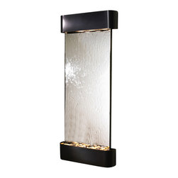 Adagio Water Features - Inspiration Falls Wall Fountain, Blackened Copper, Silver Mirror, Rounded Frame - Comes complete with polished river rock, halogen lighting, and electric pump.