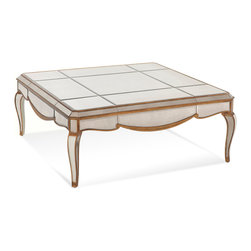 Bassett Mirror - Collette Square Cocktail Table - Every surface shines on this gorgeous square cocktail table. Antiqued silvered mirror panels are framed in gold and silver leafing, all perched atop sculptural cabriole legs. Each mirrored panel is scratch-resistant, so feel free to set your cocktail down atop this elegant table.