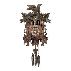 RIVER CITY CLOCKS - Eight Day Musical Cuckoo Clock with Dancers - Moving Birds Feed Bird Nest - 16 I - This hand-carved eight day musical German cuckoo clock features wooden hands, a wood dial with Roman numerals, and a warm light yellow hand-painted and hand-carved cuckoo bird. The clock case features six maple leaves and a bird at the peak of the roof. At the top of every hour the birds beneath the dial move up and down to feed the baby birds in the bird nest. The dancers revolve on their platform at the top of every hour. This clock also plays music on the hour alternating between two different melodies: Edelweiss & The Happy Wanderer. Three cast iron pine cone weights are suspended beneath the clock case by three separate brass chains.    The hand-carved maple leaf pendulum continously swings back and forth which controls the timing of the clock. If your cuckoo clock's timing should ever need adjustment, you can control the speed of your clock by sliding the maple leaf up or down the pendulum stick. Sliding the maple leaf down causes the cuckoo clock to run slightly slower, while sliding the maple leaf up makes the cuckoo clock run slightly faster.    On every hour the cuckoo bird emerges from a swinging door above the clock dial and counts the hour by cuckooing once per hour. (Example: At one o'clock the bird will cuckoo once. At eight o'clock the bird will cuckoo eight times) The half hour is announced with one cuckoo call. There is a sound shut-off device beneath the base of the cuckoo clock. Pushing the lever up disables the cuckoo birds cuckoo and the music. Pulling the lever down enables the cuckoo clock to play the music and cuckoo call.    The eight day all brass mechanical Regula movement, which is produced in the Black Forest of Germany, is wound once per eight days by raising the three pine cone weights. One weight powers the time, one weight powers the music and dancers, and the other weight powers the cuckoo bird and cuckoo call.     *Great effort has been made to portray each cuckoo clock as accurately as possible. As with many handmade items, the exact coloration and carving may vary slightly from clock to clock. We consider this to be a special part of their character. This clock is covered by a two year limited warranty covering workmanship and manufacturers defects. .