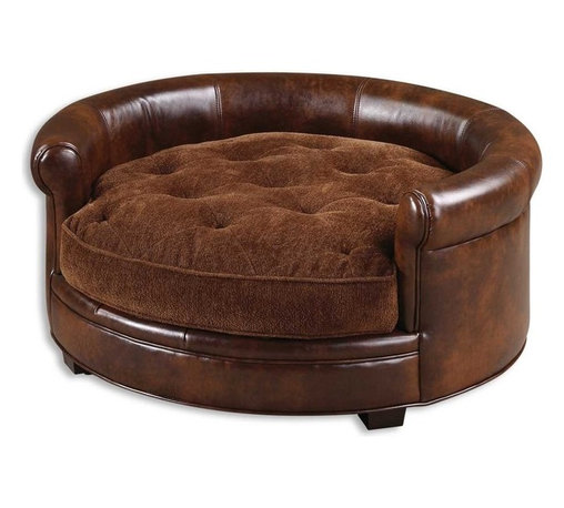Matthew Williams - Matthew Williams Lucky Traditional Pet Bed X-52032 - Mans best friend deserves to have a stylish and comfortable bed also and here you have it. This bed features durable, brown imitated leather with a plush, russet brown cushion that is tufted and reversible, and buckles to the hardwood frame.
