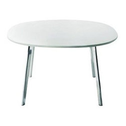 Magis - Deja-Vu Rounded Square Table by Magis - No, you haven't seen anything like the Magis Deja-Vu Rounded Square Table before. This table includes polished extruded aluminum legs topped by a unique MDF slab that's round with four subtly flattened sides. It is available in two sizes and comes with the top either painted White or veneered in natural oak or oak stained a dark wenge. Founded in 1976 by a newcomer to the Italian furniture business (Eugenio Peruzzi), Magis today continues to give modern furniture design a novel twist. Magis embraces the creativity of leading global designers (Richard Sapper, Jasper Morrison, Konstantin Grcic, Ron Arad and many others) and incorporates sophisticated technology and materials into every chair, table and design accessory they make.