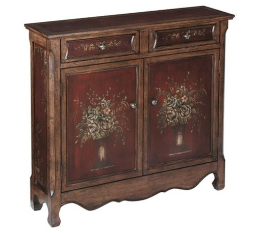 Stein World - Stein World Chamberlin Cupboard, Burgundy, Walnut - Charming two drawer, two door cupboard in burgundy and walnut finish with hand painted flower vase motif. Doors open to a single fixed shelf.