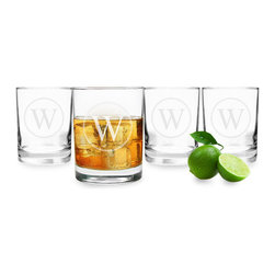 None - Personalized Circle Initial Drinking Glasses (Set of 4) - Classically shaped and hand blown into a smooth silhouette,this custom engraved Drinking Glass Set is staple for every kitchen's collection. Ideal for everyday use,each signature glass features a heavy,cylindrical base and custom engraving.
