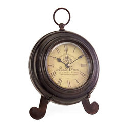 Brown Iron Desk Clock - Charming round brown iron desk clock, with yellow face, roman numerals, rests on easel