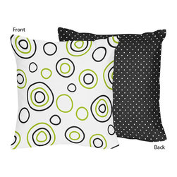 Sweet Jojo Designs - Spirodot Lime and Black Decorative Accent Throw Pillow by Sweet Jojo Designs - The Spirodot Lime and Black Decorative Accent Throw Pillow by Sweet Jojo Designs, along with the  bedding accessories.
