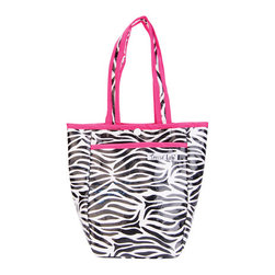"""Trend Lab - Diaper Bag - Zahara Mini Tote - Trend Lab's Zahara Mini Tulip Tote is the perfect on-the-go accessory for quick outings where a large diaper bag is unnecessary. It's perfect for short shopping trips and can hold a bottle, diapers, wipes and other small necessities! This wonderful bag can also be used as a toy bag, beach bag, lunch tote, or cosmetic bag. This Mini Tulip Tote allows you to conveniently pack the essentials and go!. Mini Tulip Tote features a black and white zebra print with a black, white and paradise pink confetti dot print lining and paradise pink trim. Bag features a laminated exterior for easy clean up and durability, a snap closure and one exterior pocket. Bag measures 7"""" x 9 1/2 """" x 4"""" and features two handles measuring 16 1/2 """" in length."""