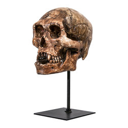Interior Illusions - Skull Tabletop Decor, Dark Brown/Black - Place this spooky Skull Tabletop Decor on an entryway table for a dramatic look. Handmade with a dark brown and black resin finish and slim black stand, this skull makes a perfect addition to your Halloween-themed decor.