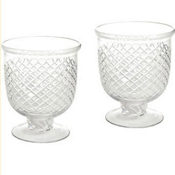 Ballard Designs - Hotel de Ville Cut Glass Hurricanes - Set of 2 - Inspired by stemware. Fits a votive or tea lights. Double the glow. A classic diamond pattern is hand etched around the clear glass hurricane cup for a timeless look. Fill with colored candles or greenery to coordinate the accent lighting with your seasonal tablescape.Hotel de Ville Cut Glass Hurricanes features:. .