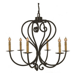 "Santangelo Lighting - 6 Light Heart  Wrought Iron Chandelier - 6 Light Heart  Wrought Iron Chandelier. Dimensions: 25""W X 19""H, Lights: 6, Finish: Bronze, Tiers: 1, Bulbs: Uses Up To 60 Watt Bulbs (Not Included), Light Covers: Optional Upgrade Onyx Socket or Light Covers, Chain: Comes with 2ft Chain, Weight: 30 LBS, Lead Time: Custom Order 2 - 4 Weeks; UL Approved"
