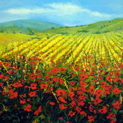 'Field of Poppies' Giclée Print - You might be tempted to drift away into a peaceful slumber in this enchanting field of poppies. A bright and joyful country landscape, Lynne Friedman's signed, limited-edition print will charm your family and friends for years to come. Hang it in the spare bedroom to encourage a good night's sleep for your overnight guests.