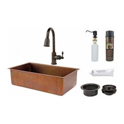 "Premier-Copper-Products - 33"" Antique Copper Sink w/ORB Faucet - KSP2_KSB33199 Premier Copper Products 33 Inch Antique Hammered Copper Kitchen Single Basin Sink with ORB Pull Down Faucet, Matching Drain, and Accessories."