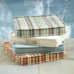 Ballard Designs - Farmhouse Totable Cushion - Convenient Sunbrella strap handle. Available in mix & match outdoor-safe fabrics. Made in the USA. Take it to the pool, beach or your next picnic. Our Farmhouse Totable Cushion is made of weather-loving Sunbrella Fabric and finished with our exclusive Fast-Dry mesh bottom to dry quickly, so it's ready to go when you are. Farmhouse Totable Cushion features:. . .
