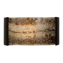A19 - Ebb and Flow Wall Sconce Black Gloss and Multi Galaxy - The main feature of this piece is the visual fluidity of motion created by the meandering bands of fused pieces of colored glass along the top and bottom edge and uncolored pieces of glass along the middle. A crescent-shaped horizontal sconce. Light shines through openings at the top, the bottom and illuminates the textured ebb-and-flow design. Handmade to A19's exacting standards, using a kiln-fired ceramic base and recycled window glass from local sources.