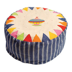"""Wingreen - Bean Bag - Toy Shop - Our Toy Shop Bean Bag is appliqued and embroidered with a bright Spinning Top, colourful bunting trim and navy multi-stripe sides. The removable outer cover is machine washable and the inner lining contains fire retardant polystirene beans. Size: 24"""" diameter x 11.80"""" high"""