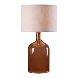 Kenroy - Kenroy KR-32261AMB Capri Table Lamp - Clearly, this versatile glass lamp and matching pendant can swing in a modern or traditional scenario.  With the silhouette of a classic jug, and glossy transparency, Capri appeals to a wide spectrum of design sensibilities.