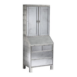 """Inviting Home - Mirrored Secretary Desk - Mirrored secretary desk with antiqued silver leaf finish and antiqued mirrored front; 29-1/2""""W x 20-3/4""""D x 74-3/4""""H; Secretary desk with antique silver-leaf finish and antiqued mirrored front. The top has two doors and two shelves inside. The lower portion has four drawers and a drop front with open shelves and letter compartments inside."""
